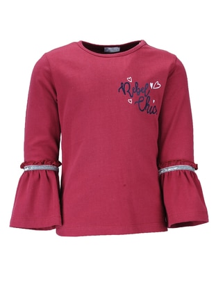 Crew neck -  - Maroon - Girls` Blouse