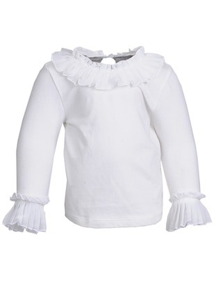Crew neck -  - Ecru - Girls` Blouse