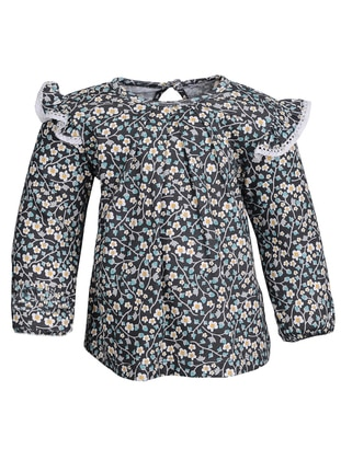 Floral - Crew neck -  - Multi - Green - Girls` Blouse