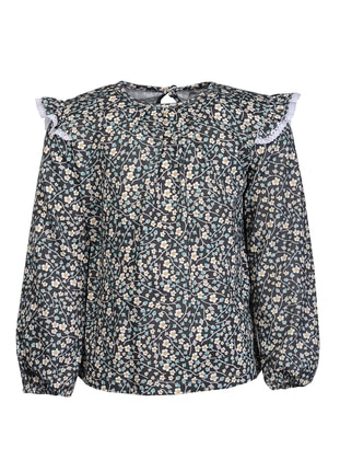 Floral - Crew neck -  - Green - Girls` Blouse