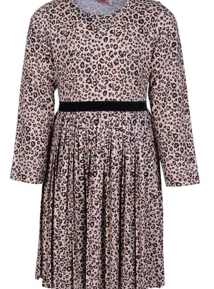 Leopard - Crew neck -  - Brown - Girls` Dress