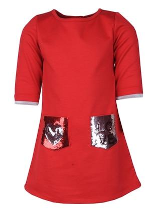 Crew neck - Viscose - Red - Girls` Dress