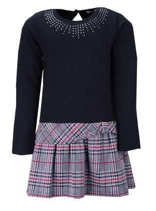 Plaid - Crew neck - Viscose - Multi - Navy Blue - Girls` Dress