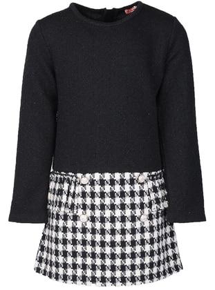 Plaid - Crew neck - Viscose - Black - Girls` Dress