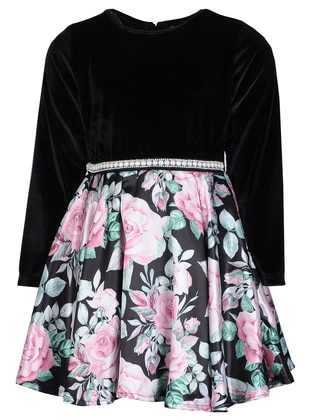 Floral - Crew neck -  - Fully Lined - Black - Girls` Dress