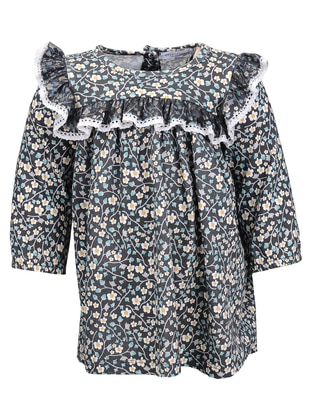 Floral - Crew neck -  - Multi - Green - Girls` Dress