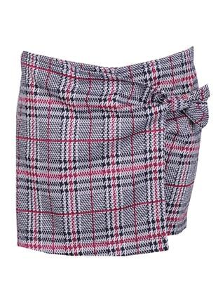 Plaid - Viscose - Maroon - Multi - Girls` Skirt