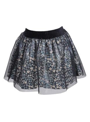 Floral -  - Fully Lined - Multi - Green - Girls` Skirt