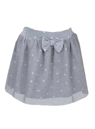 Polka Dot -  - Fully Lined - Gray - Girls` Skirt