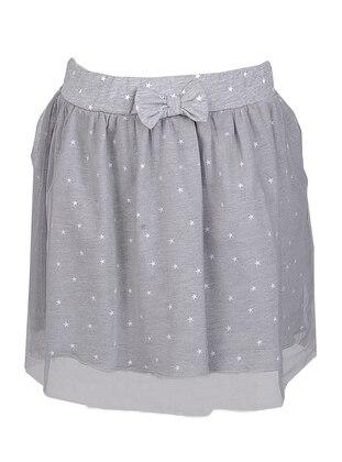 Polka Dot -  - Gray - Girls` Skirt