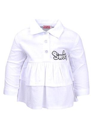 Point Collar - Cotton - Unlined - White - Ecru - Girls` Shirt