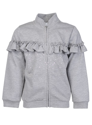Polo neck -  - Gray - Girls` Cardigan