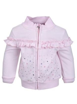 Crew neck -  - Pink - Girls` Cardigan
