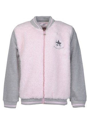 Crew neck -  - Pink - Girls` Cardigan - Zeyland