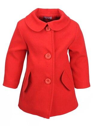 Round Collar -  - Red - Girls` Coat
