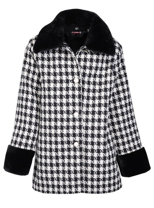 Plaid - Polo neck - Acrylic -  - Viscose - Black - Girls` Coat - Zeyland
