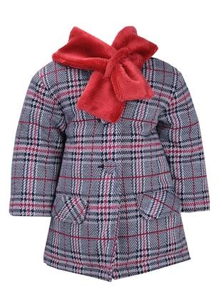Plaid - Shawl Collar - Metal Thread - Viscose - Maroon - Multi - Girls` Jacket