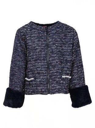 Crew neck -  - Navy Blue - Girls` Jacket