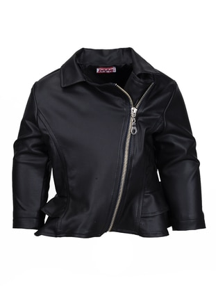 Point Collar - Fully Lined - Black - Girls` Jacket