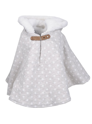 Polka Dot -  - Unlined - White - Ecru - Girls` Poncho