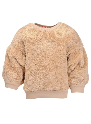 Crew neck - Unlined - Beige - Girls` Sweatshirt