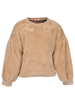 Crew neck -  - Beige - Girls` Sweatshirt