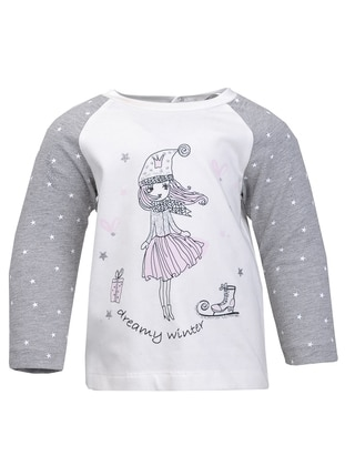 Multi - Crew neck -  - Gray - Girls` Sweatshirt