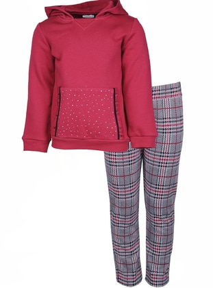 Plaid -  - Maroon - Multi - Girls` Suit