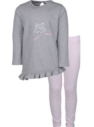Crew neck -  - Gray - Girls` Suit