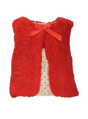 Crew neck -  - Fully Lined - Red - Girls` Vest
