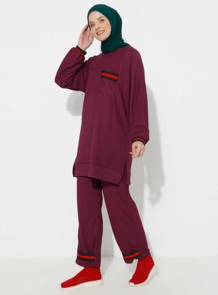 Plum - Unlined -  - Suit