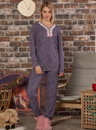 Multi - V neck Collar - Multi -  - Pyjama Set