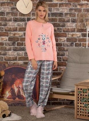 Salmon - Crew neck - Multi -  - Pyjama Set