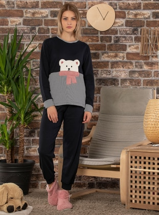 Navy Blue - Crew neck -  - Pyjama Set
