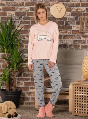Salmon - Crew neck -  - Pyjama Set