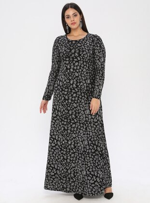 Silver tone - Black - Fully Lined - Crew neck - Muslim Plus Size Evening Dress