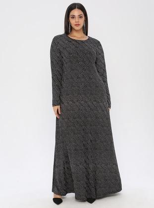 Silver tone - Black - Unlined - Crew neck - Muslim Plus Size Evening Dress