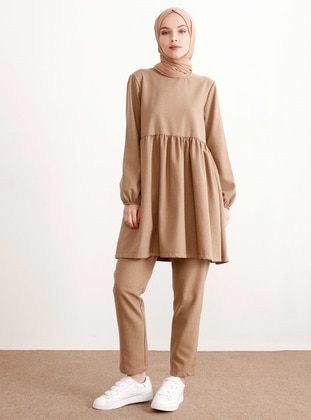 Beige - Unlined -  - Suit - İnşirah