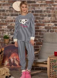 Navy Blue - Crew neck - Stripe -  - Pyjama Set