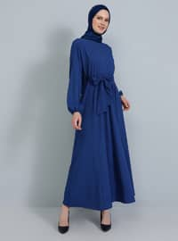 İndigo - Yuvarlak yakalı - Astarsız kumaş - Elbise