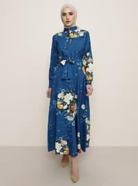 İndigo - Çiçekli - Çok renkli - Düğmeli yaka - Astarsız kumaş - Elbise