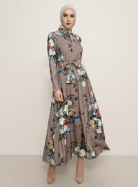 Vizon - Çiçekli - Çok renkli - Düğmeli yaka - Astarsız kumaş - Elbise