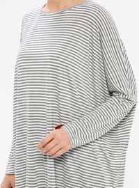 White - Gray - Red - Stripe - Crew neck -  - Tunic