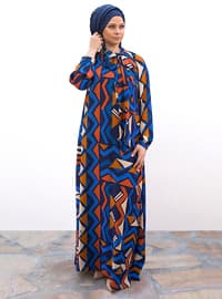 Navy Blue - Saxe - Fully Lined - Shawl Collar - Plus Size Dress