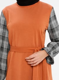 Tan - Tan - Crew neck - Unlined -  - Dress
