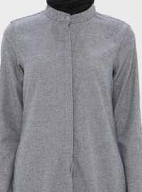 Gray - Point Collar -  - Viscose - Tunic