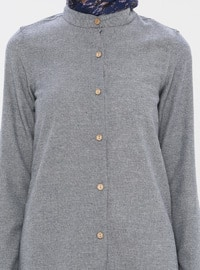 Gray - Crew neck -  - Viscose - Tunic