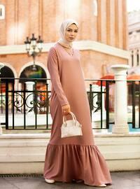 Belt Detailed Flounced Dress - Dusty Rose