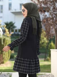 Khaki - Black - Plaid - Crew neck - Tunic
