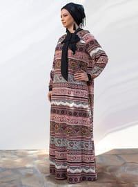 Black - Salmon - Fully Lined - Crew neck - Plus Size Dress